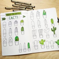 "Draw cacti - cactus - cactuses - Allie (@seaside_stickers) auf Instagram: ""Thank you all for joining my live draw with me! It was so much fun drawing all those different…"""