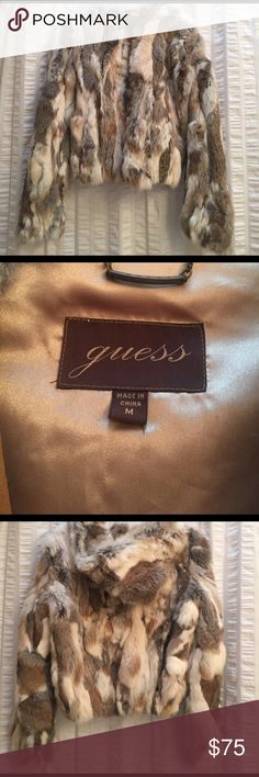 GUESS RABBIT FUR HOODED BOMBER JACKET Great real fur and leather. Neutral colors short jacket hits at waists Jackets & Coats