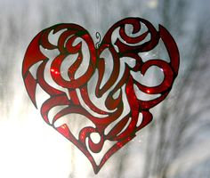 Stained Glass Red Heart Valentine Heart Motif by GaleazGlass, $80.00