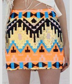 Orange and blue sequin Aztec skirt