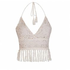 Ally Fashion Holiday crochet fringing crop bralet ($22) ❤ liked on Polyvore featuring tops, beige, crochet crop top, crochet bralette top, fringe top, crochet top and beige crop top