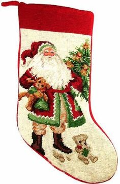 Teddy Bear Santa Needlepoint Christmas stocking