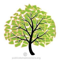 Illustration of a tree with green leaves.