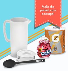 All that unpacking would make any freshman a little thirsty. Try a thoughtful care package using a plastic pitcher. Fill it with some favorite powdered drink mixes and a mixing spoon for an instantly gratifying move-in gift.