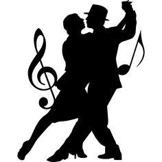 Stickers de silhouettes et personnages - Sticker Silouhette couple de danseurs