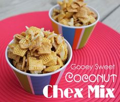 "Gooey Sweet Coconut Chex Mix - {When Jacob tried to describe the dessert he wanted me to make, he said ""it's honey chewy goodness""  So, after some searching, I realized he meant this stuff.  So now it's pinned so I never have to search again :)  ~e}"