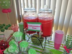 Watermelon Party Supplies, Watermelon Birthday Parties, 1st Birthday Party For Girls, First Birthday Party Themes, Birthday Ideas, 5th Birthday, Fizz Drinks, Baby Shower Watermelon, One In A Melon
