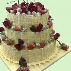 Flowers, strawberries, truffles and white chocolate net pieces around. Wedding Cake Decorations, Wedding Cakes, Cake Art, Art Cakes, Custard Slice, Individual Desserts, Party Platters, Small Cake, Novelty Cakes