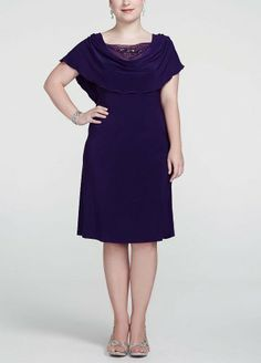 49acc19e0a9 You ll look stunning at any event in this gorgeous dress! Short sleeve  bodice features a drape neck with a dazzling beaded inset fo.