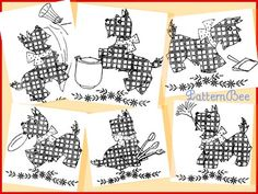 Scotch Plaid Pup - 6 embroidery designs for dish towels using cross stitching.