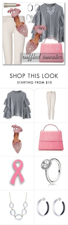 """""""Casual Wear - Ruffled Sweater"""" by sonyastyle ❤ liked on Polyvore featuring Chicwish, Mother, Aquazzura, Hunting Season, Pandora, Alexis Bittar, Ilia, ruffles, sweaterweather and polyvoreeditorial"""
