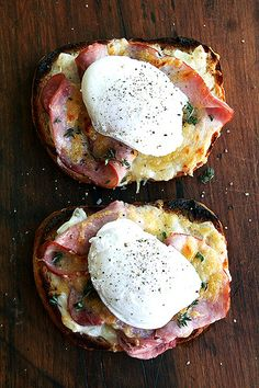 croque monsieur topped with poached eggs