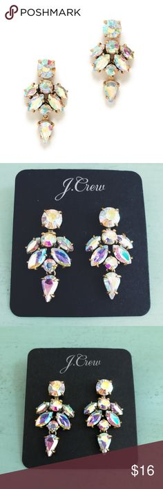 J. CREW Iridescent Crystal Drop Earrings Absolutely stunning! They have a few minor scratches on the crystals (see photos). Does not include the black card - I used it for the photos only. J. Crew Jewelry Earrings