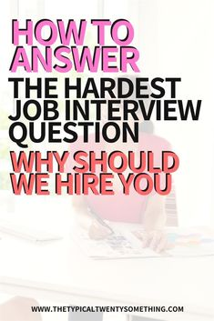 """Stumped with professional interview questions? Here is the best interview answer to """"why should we hire you"""". You need to be able to vocalize why someone should hire you at their company during a job interview, so read this step by step guide. Tips Professional Interview Questions, Job Interview Preparation, Interview Questions And Answers, Job Interview Tips, Job Interviews, Marketing Interview Questions, Professional Etiquette, Job Hunting Tips, Job Career"""