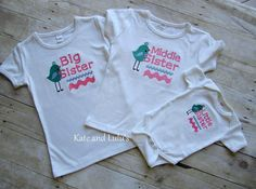 Matching Sibling Shirts- Birdie Big Sister, Middle Sister or Little Sister Embroidered Shirt or  Bodysuit- Shower Gift- Photo Prop- New Baby on Etsy, $18.00