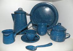 Vintage Enamel Cookware   Vintage Camping Cookware Set Blue Enamel by sitandsingvintage