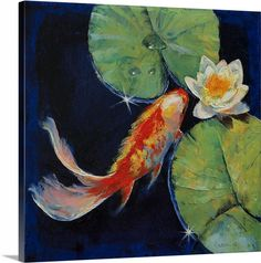 """Koi and White Water Lily"" by Michael Creese. Available in canvas or poster at CanvasOnDemand.com"