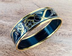 Vintage Michaela Frey Gold and Enamel Bangle Black and Art Nouveau, Bangle Bracelets, Bangles, Ribbon Design, Detailed Image, Uk Shop, Signature Style, Jewelry Collection, Cool Pictures