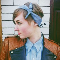 Sir & Madame Polka Dot Chambray Handkerchief works as a hair accessory as well!