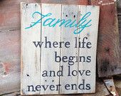 Hand Painted Family Wood Pallet Sign, Distressed Rustic Wall Decor, Recycled Repurposed Wood, White, Country Primitive