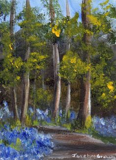 Bluebell Path ACEO Flowers Forest Trees Original Landscape ACEO Acrylic Painting