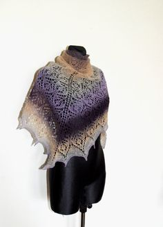 Purple Hand Knit Shawl Hand Knit Purple Shawl Ombre by aboutCRAFTS