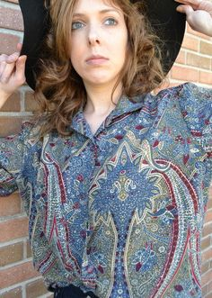 Vintage 70s Top paisley print  / navajo by thevintageattic10, $22.00