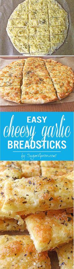 A seductive chewy, crispy, garlicky, cheesy breadsticks