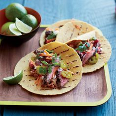 Marinated Skirt Steak Tacos with Pecan-Chipotle Salsa // More Fantastic Taco Recipes: http://www.foodandwine.com/slideshows/tacos/1 #foodandwine