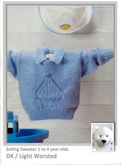 DK Sailing Sweater 1 to 4 year olds Pattern at www.yarnpassion.com