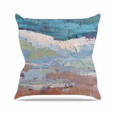 KESS InHouse CS1009AOP03 18 x 18-Inch 'Carol Schiff On the Beach Coral Blue' Outdoor Throw Cushion - Multi-Colour