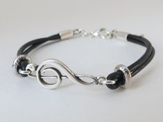 Music jewelry treble clef note bracelet clef by MarciaHDesigns