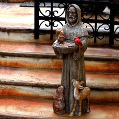 Loving this St. Francis & Friends Garden Statue on St. Francis, Francis Of Assisi, Saint Francis, Wooden Statues, Bird Statues, Patron Saint Of Animals, Life Size Statues, San Francisco, Patron Saints