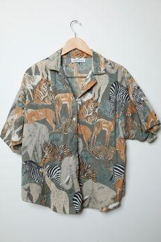 Awesome Vintage 80s/90s Safari Wild Animal Jungle Print Short Sleeve Button Up Shirt Unisex by LipstickDinosaur on Etsy