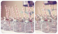 party glasses with strip straws