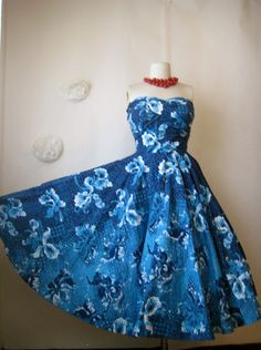 1950s dress. hawaiian kamehameha dress. vintage 50s full skirt party dress.. $350.00, via Etsy.