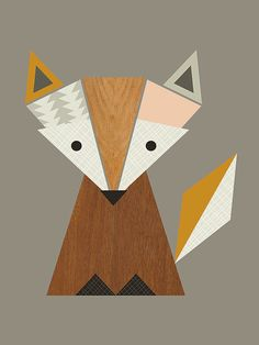 Art Group Geometric Fox by Little Design Haus Wall Art