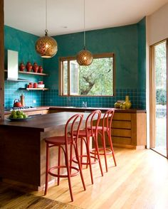 teal red kitchen color scheme
