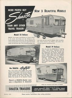 1960 Shasta Trailers advertisement