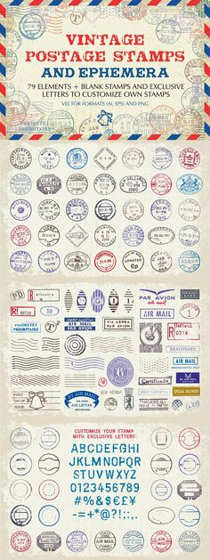 Postcard Design, Vector Format, Postage Stamps, Ephemera, Your Design, Create Your Own, Letters, Vintage, Vintage Comics