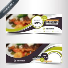 Restaurant banners in abstract design Free Vector