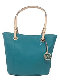 Michael Kors Jet Set Large Leather Tote 38F2CTTT7L, Aqua Current Sale Price $198.00!