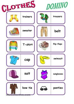 to practice vocabulary (clothes); I think, the pupils and also teachers will enjoy this domino (clothes); the pupils can do it in a small groups (etw/ four - six pupils) - ESL worksheets English Games, English Activities, English Fun, Learn English, Vocabulary Clothes, Vocabulary Activities, English Language Learning, Teaching English, Language Arts