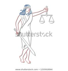 Retro style illustration showing a neon sign light signage lighting of a blindfolded Lady Justice holding a sword and weighing scale or balance on isolated background. Neon Stock, Lady Justice, Signages, Weighing Scale, Sign Lighting, Retro Style, 1990s, Sword, Retro Fashion
