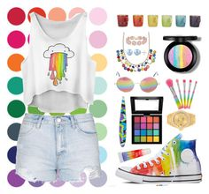"""""""Rianbow"""" by lanabaloley ❤ liked on Polyvore featuring Topshop, Mixit, Le Creuset, Cutler and Gross, BaubleBar, Rolex, Tweezerman, NYX, Converse and e.l.f."""