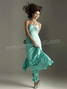 Halter Floor-length Sleeveless Elastic Woven Satin Dress