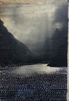 Hinke Schreuders: views on paper #1, 2014 embroidery and felt on paper on linen 25,5 × 17,5 × 5,5 cm
