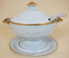 English Clews Warranted Staffordshire marked pottery Sauce tureen/ lid/ ladle