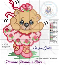 Viviane Pontos e Art's: Ursinha Bailarina Cross Stitch Heart, Cute Cross Stitch, Cross Stitch Animals, Graph Paper Drawings, Disney Cross Stitch Patterns, Christmas Embroidery Patterns, Christmas Cross, Craft Patterns, Square Quilt