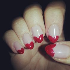 heart stiletto nails - super cute for Valentine's